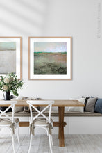 "Load image into Gallery viewer, Zen abstract landscape painting ""Coral Belles,"" printable wall art by Victoria Primicias, decorates the dining room."