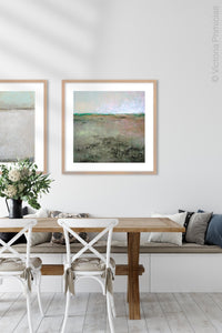 "Zen abstract landscape painting ""Coral Belles,"" printable wall art by Victoria Primicias, decorates the dining room."