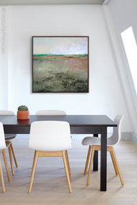 "Zen abstract landscape art ""Coral Belles,"" canvas wall art by Victoria Primicias, decorates the office."