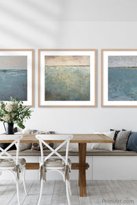 "Large coastal abstract beach wall decor ""Coral Conceit,"" canvas wall art by Victoria Primicias, decorates the dining room."
