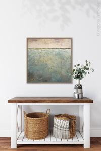 "Large coastal abstract beach wall art ""Coral Conceit,"" giclee print by Victoria Primicias, decorates the foyer."