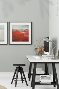 "Contemporary abstract beach wall art ""Courage Point,"" printable wall art by Victoria Primicias, decorates the office."