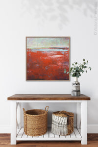 "Contemporary abstract seascape painting ""Courage Point,"" printable wall art by Victoria Primicias, decorates the hallway."