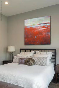 "Contemporary abstract beach wall decor ""Courage Point,"" printable wall art by Victoria Primicias, decorates the bedroom."