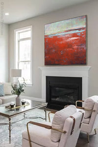 "Contemporary abstract beach wall art ""Courage Point,"" printable wall art by Victoria Primicias, decorates the fireplace."