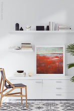 "Load image into Gallery viewer, Contemporary abstract seascape painting ""Courage Point,"" printable wall art by Victoria Primicias, decorates the office."