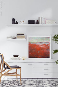 "Contemporary abstract seascape painting ""Courage Point,"" printable wall art by Victoria Primicias, decorates the office."