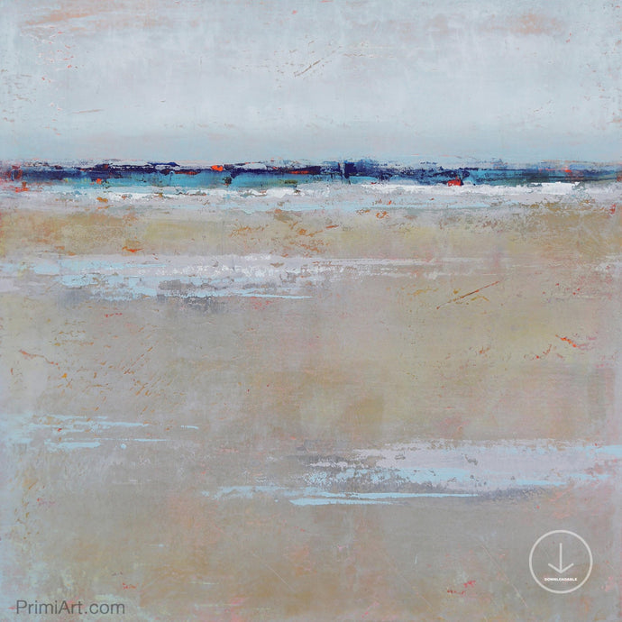Beige muted abstract seascape painting