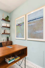 "Load image into Gallery viewer, Gray neutral abstract beach wall decor ""Crib Sheets,"" metal print by Victoria Primicias, decorates the office."