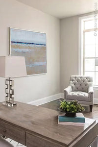"Gray neutral abstract beach wall art ""Crib Sheets,"" canvas art print by Victoria Primicias, decorates the office."