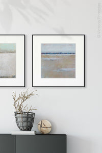 "Gray neutral abstract seascape painting ""Crib Sheets,"" canvas print by Victoria Primicias, decorates the entryway."