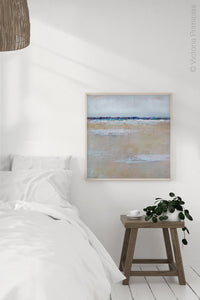 "Gray neutral abstract beach wall decor ""Crib Sheets,"" metal print by Victoria Primicias, decorates the bedroom."