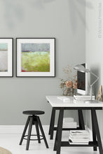 "Load image into Gallery viewer, Yellow and gray abstract ocean art ""Crimson Threads,"" digital download by Victoria Primicias, decorates the office."