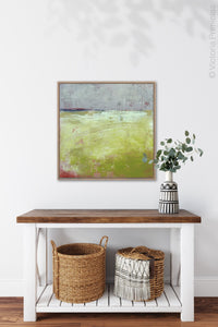 "Yellow and gray abstract landscape art ""Crimson Threads,"" digital download by Victoria Primicias, decorates the hallway."