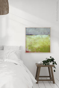 "Yellow and gray abstract ocean painting ""Crimson Threads,"" digital download by Victoria Primicias, decorates the bedroom."