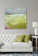 "Load image into Gallery viewer, Yellow and gray abstract ocean painting ""Crimson Threads,"" digital download by Victoria Primicias, decorates the living room."