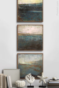 "Indigo landscape art ""Deep End,"" downloadable art by Victoria Primicias, decorates the hallway."