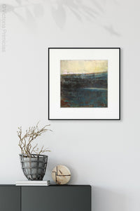 "Indigo abstract ocean painting ""Deep End,"" wall art print by Victoria Primicias, decorates the entryway."