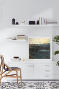 "Indigo abstract beach painting ""Deep End,"" metal print by Victoria Primicias, decorates the office."