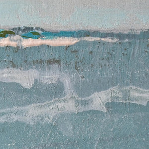 "Closeup detail of teal muted abstract beach painting ""Delicate Dawn,"" printable wall art by Victoria Primicias, decorates the"