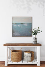 "Load image into Gallery viewer, Teal muted abstract beach painting ""Delicate Dawn,"" digital print by Victoria Primicias, decorates the entryway."