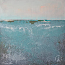 "Load image into Gallery viewer, Teal muted abstract beach painting ""Delicate Dawn,"" digital art by Victoria Primicias"