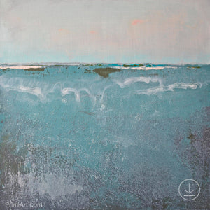 "Teal muted abstract beach painting ""Delicate Dawn,"" digital art by Victoria Primicias"