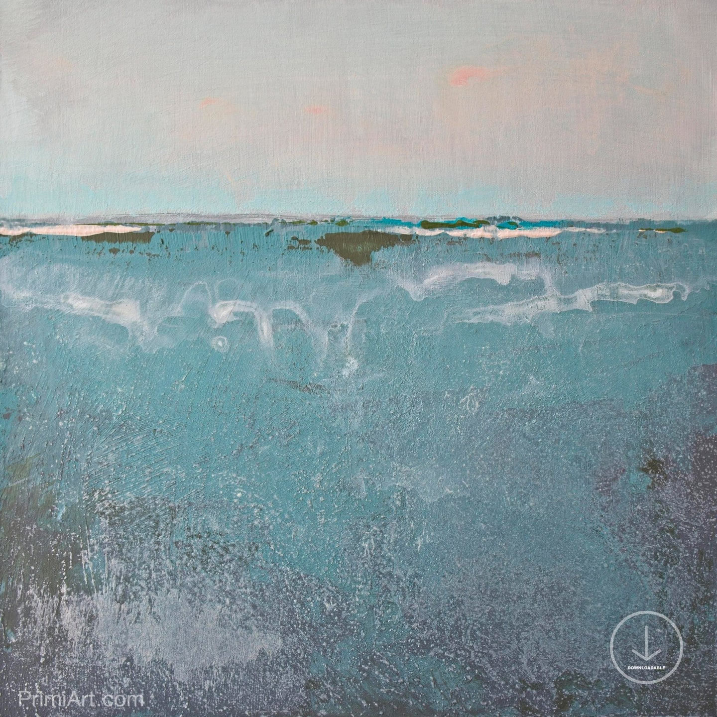 Teal muted abstract beach painting