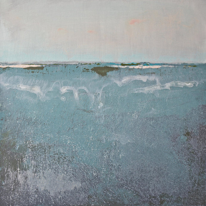 Teal abstract beach painting