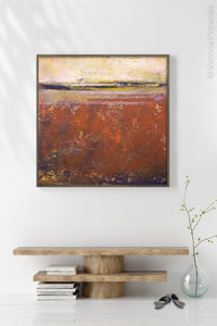 "Square abstract coastal wall decor ""Domino Shores,"" giclee print by Victoria Primicias, decorates the hallway."