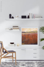"Load image into Gallery viewer, Square abstract ocean wall art ""Domino Shores,"" canvas wall art by Victoria Primicias, decorates the office."