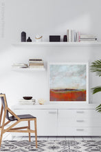 "Load image into Gallery viewer, Square abstract beach wall art ""End of August,"" downloadable art by Victoria Primicias, decorates the office."
