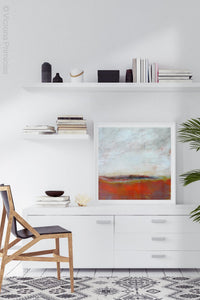 "Square abstract beach wall art ""End of August,"" downloadable art by Victoria Primicias, decorates the office."