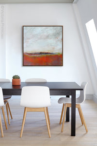"Square abstract beach art ""End of August,"" digital print landscape by Victoria Primicias, decorates the office."