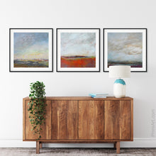 "Load image into Gallery viewer, Square abstract beach wall art ""End of August,"" digital art landscape by Victoria Primicias, decorates the entryway."