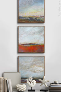 "Square abstract seascape painting""End of August,"" digital art landscape by Victoria Primicias, decorates the entryway."