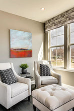 "Load image into Gallery viewer, Orange abstract seascape painting""End of August,"" metal print by Victoria Primiciasliving room."
