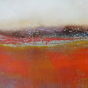 "Orange abstract seascape painting""End of August,"" metal print by Victoria Primicias"