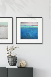 "Blue impressionist abstract beach wall art ""Evening Veil,"" digital download by Victoria Primicias, decorates the entryway."