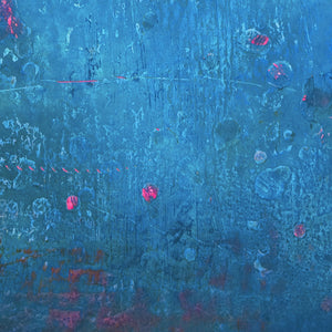 "Closeup detail of serene blue abstract beach wall decor ""Evening Veil,"" canvas wall art by Victoria Primicias"