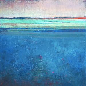 "Serene blue abstract beach wall art ""Evening Veil,"" giclee print by Victoria Primicias"