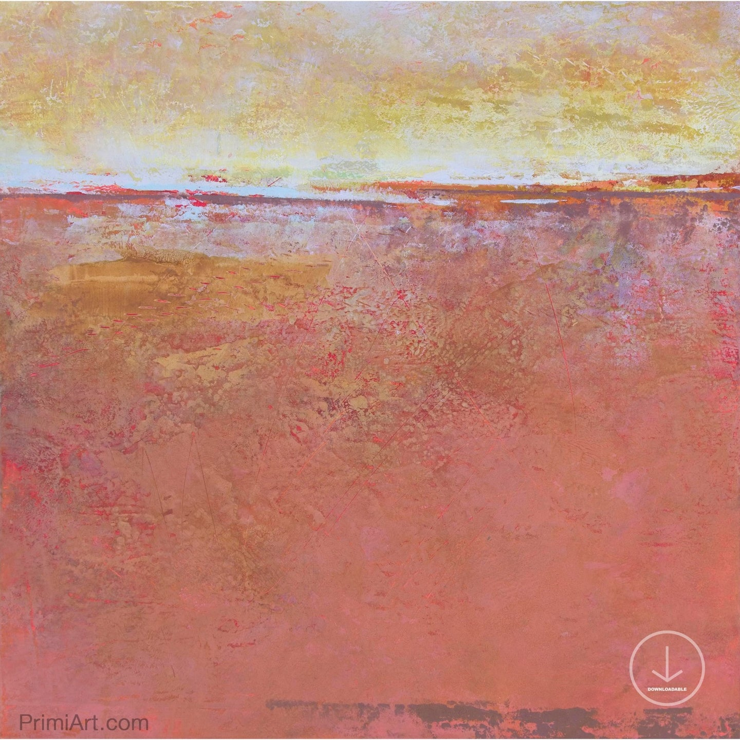 Red orange abstract beach art