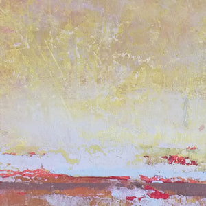 "Closeup detail of red abstract seascape painting ""Fading Beauty,"" canvas art print by Victoria Primicias"