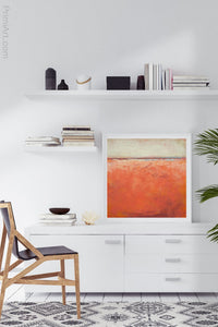 "Square abstract beach wall decor ""Fading Light,"" printable wall art by Victoria Primicias, decorates the office."
