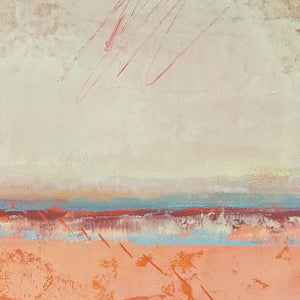 "Closeup detail of square abstract beach wall decor ""Fading Light,"" printable wall art by Victoria Primicias"