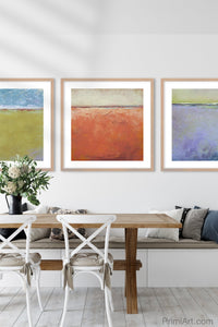 "Square abstract beach wall decor ""Fading Light,"" printable wall art by Victoria Primicias, decorates the dining room."
