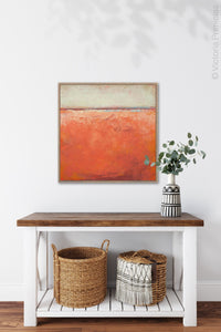 "Square abstract beach wall decor ""Fading Light,"" printable wall art by Victoria Primicias, decorates the entryway."