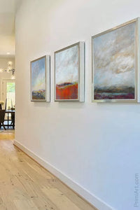 "Square abstract landscape painting ""Faraway Nearby,"" downloadable art by Victoria Primicias, decorates the entryway."