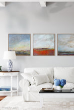 "Load image into Gallery viewer, Square abstract beach painting ""Faraway Nearby,"" fine art print by Victoria Primicias, decorates the living room."