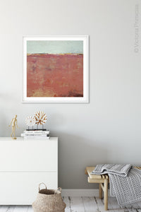"Minimalist abstract beach painting ""Feral Tidings,"" downloadable art by Victoria Primicias, decorates the hallway."